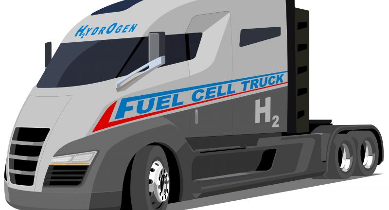 truck, trucking, electric, hybrid, energy, fuel cell, h2, fuel, transport, transportation, hydrogen, electricity, city, clean, town, car, logistic, automobile, future, modern, vehicle, motor, battery, technology, semi-truck, emissions, co2, zero, drive, vector, isolated