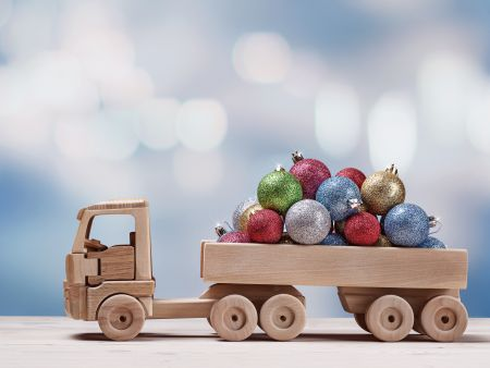 holidays, events, greetings, car, christmas balls, winter background, snow, truck, christmas decorations, souvenir, toy, handmade, transport, copy space, december, decor, decoration, holiday, balls, christmas, fun, close-up, studio